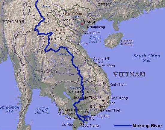Физическая карта реки Меконг