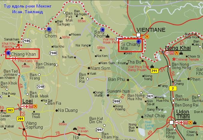 Карта поездки вдоль Меконга