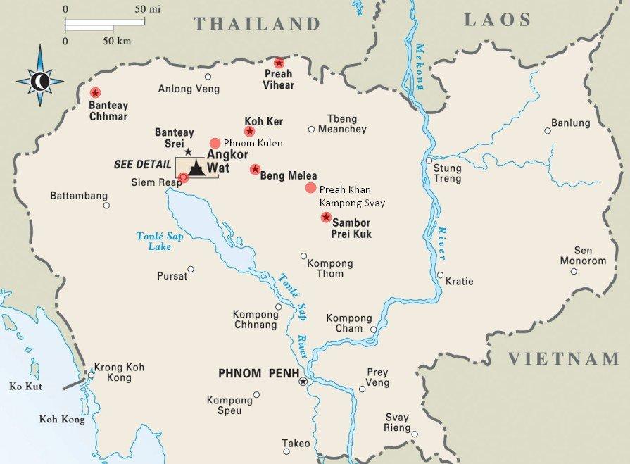 Карта дальних храмов Ангкора