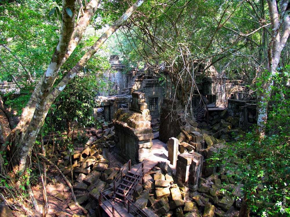 Деревянные мостки ведут вдоль разрушенных строений храма