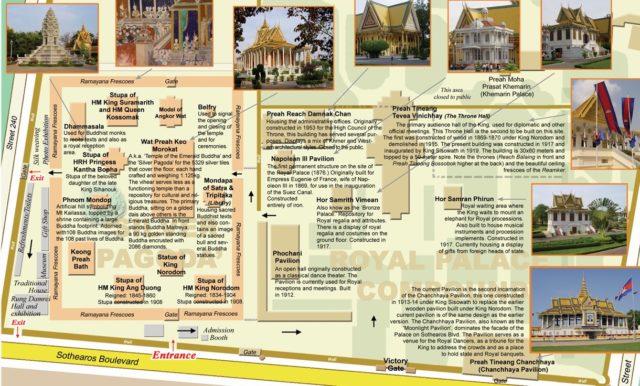 Схема построек королевского дворца в Пномпене, Камбоджа