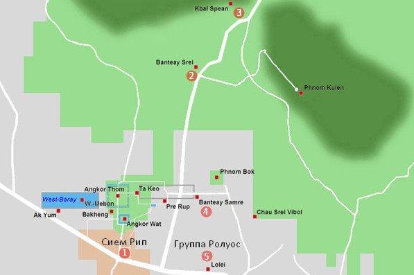 Карта маршрута по Ангкору