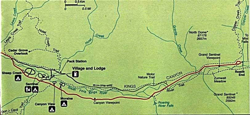 кингс каньон карта cedar grove