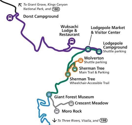 карта шаттлов в парке секвойя