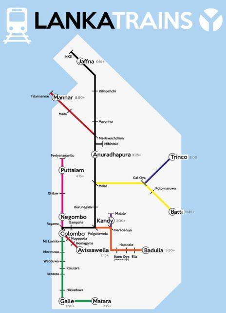 Поезд Шри Ланка карта