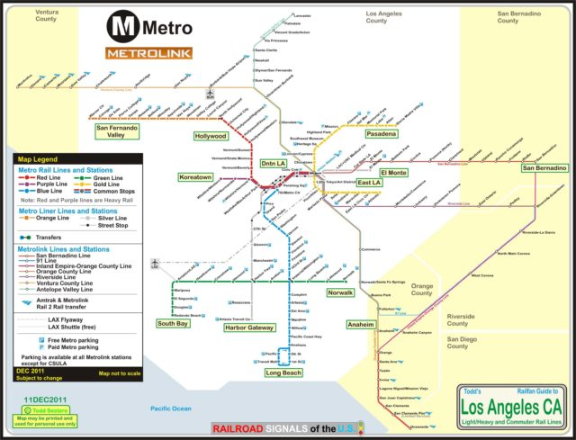 Схема Метролинк Лос-Анджелес