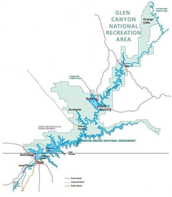 Схема озера Пауэлл