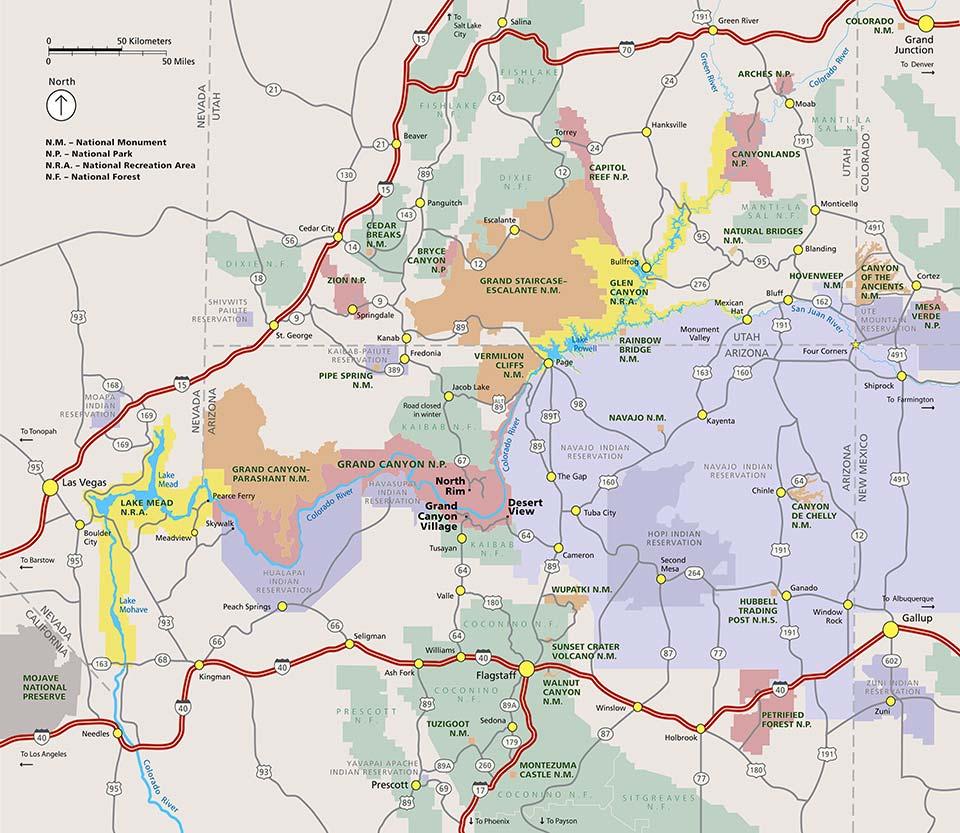 Гранд-Каньон на карте
