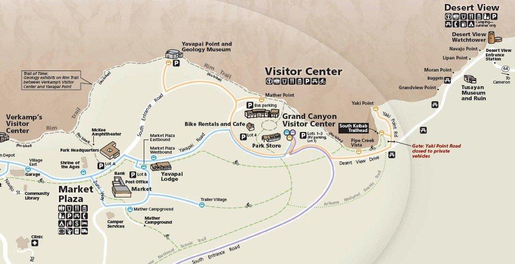 Схема дороги до Desert View Drive в парке Гранд-Каньон