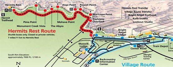 Смотровые площадки вдоль Hermits Rest в парке Гранд-Каньон в США