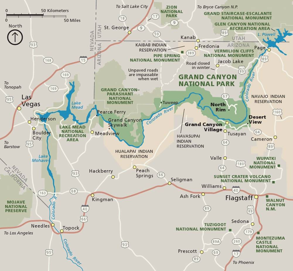 Карта парка Гранд-Каньон