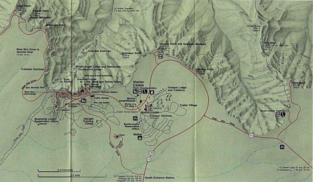Схема трейлов в парке Гранд-Каньон