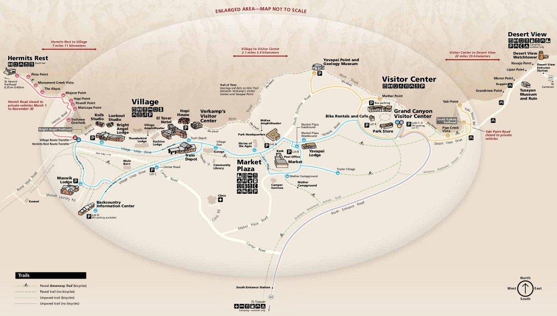 Схема Южной части Гранд-Каньона