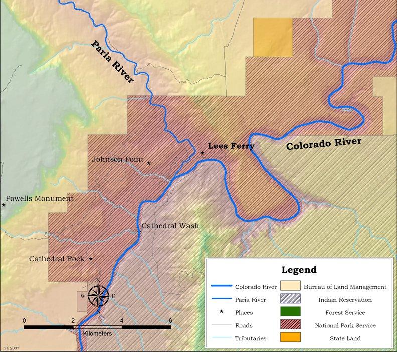 Карта реки Колорадо и Лиз Ферри