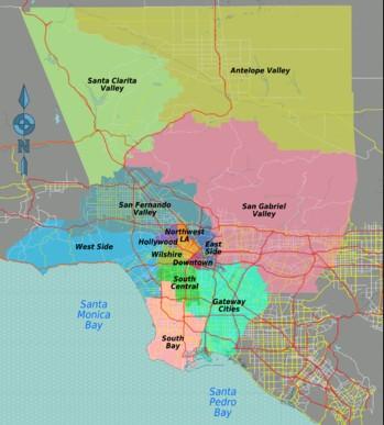 Основные районы Лос-Анджелеса
