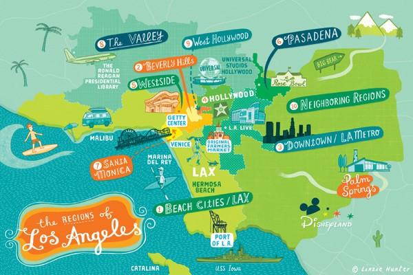 Районы Лос-Анджелеса туристическая схема