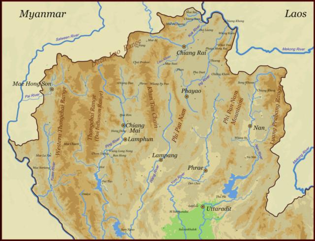 Карта Северного Таиланда