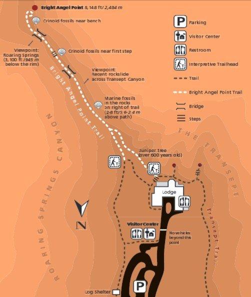 Схема Bright Angel Trail в Гранд-Каньоне