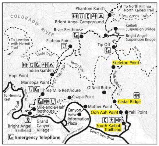 Карта South Kaibab Trail в Гранд-Каньоне