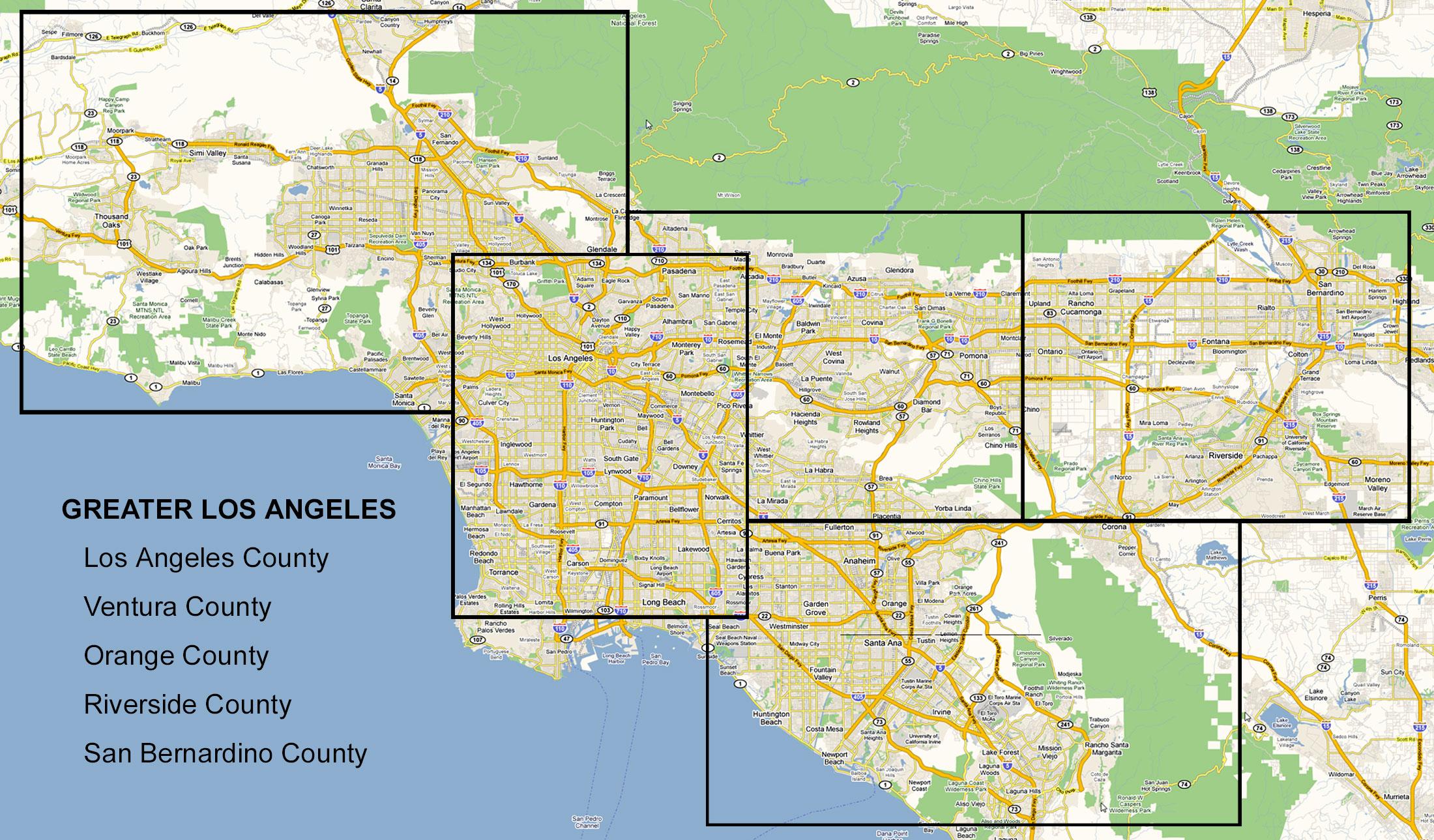 Карта Большого Лос-Анджелеса