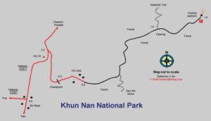 Карта национального парка Кхун Нан