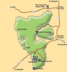 Карта национального парка Кхун Чэ