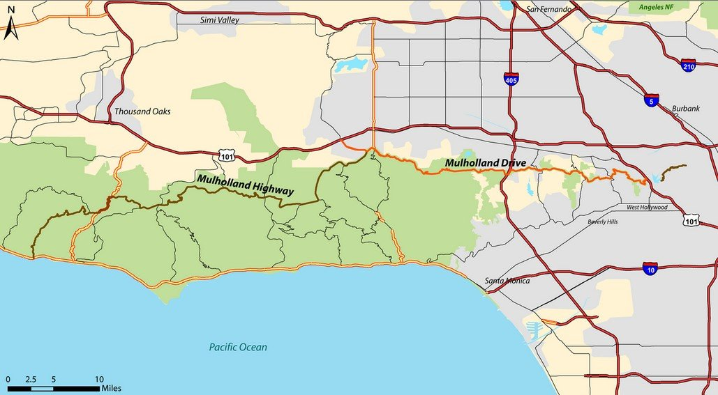 Малхолланд-драйв (Mulholland Drive) на карте