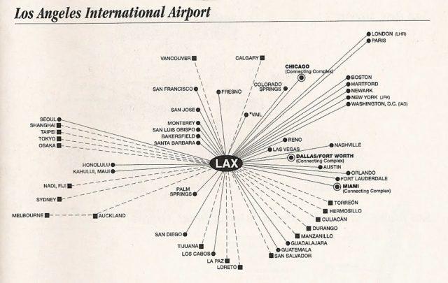 Схема авиаперелетов из Лос-Анджелеса
