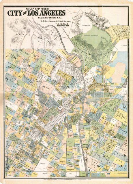 Карта центра города Лос-Анджелес 1884 года