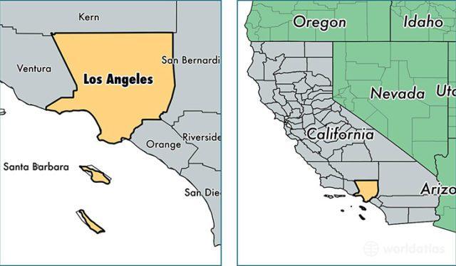 Где находится Лос-Анджелес на карте
