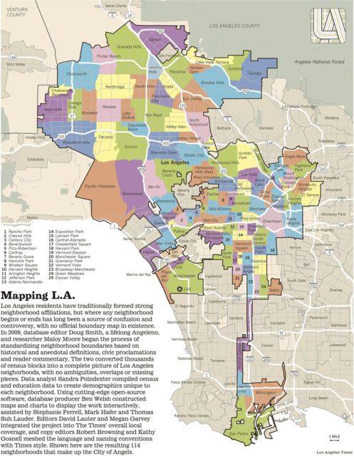 Районы Лос-Анджелеса на карте