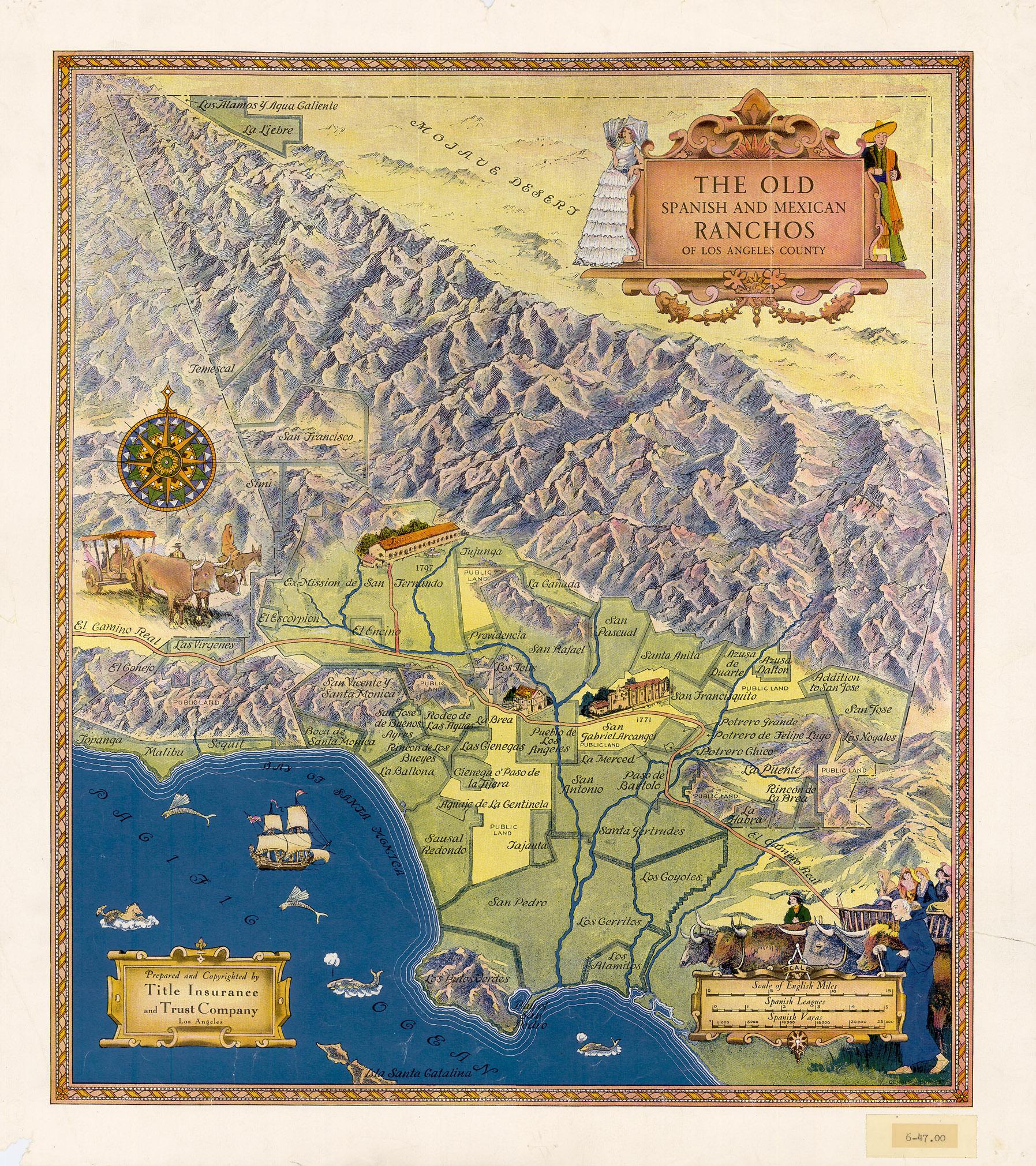 Наглядная карта испанских и мексиканских ранчо в Лос-Анджелесе