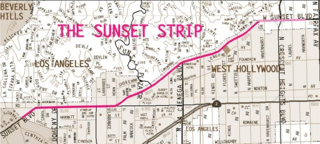 Бульвар Сансет в Лос-Анджелесе, район Западный Голливуд
