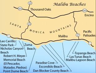 Схема пляжей Малибу
