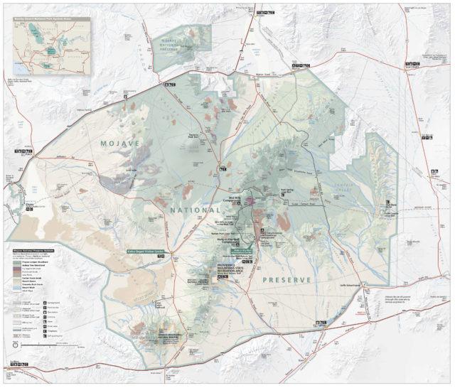 Карта заповедника Мохаве, Калифорния, США