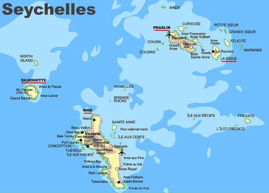 Карта островов Сейшелы