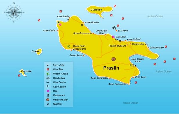 Карта острова Праслин Сейшелы