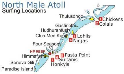 Лучшие места для серфинга на Мальдивах рядом с Мале