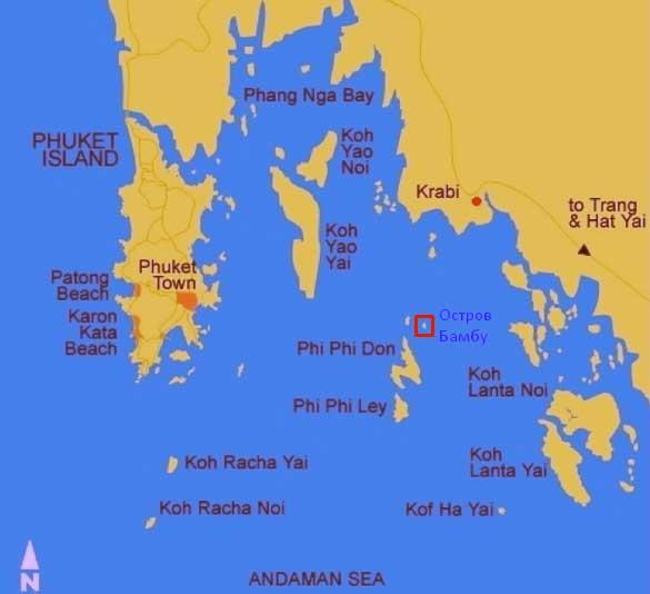 Остров Бамбу в Краби на карте