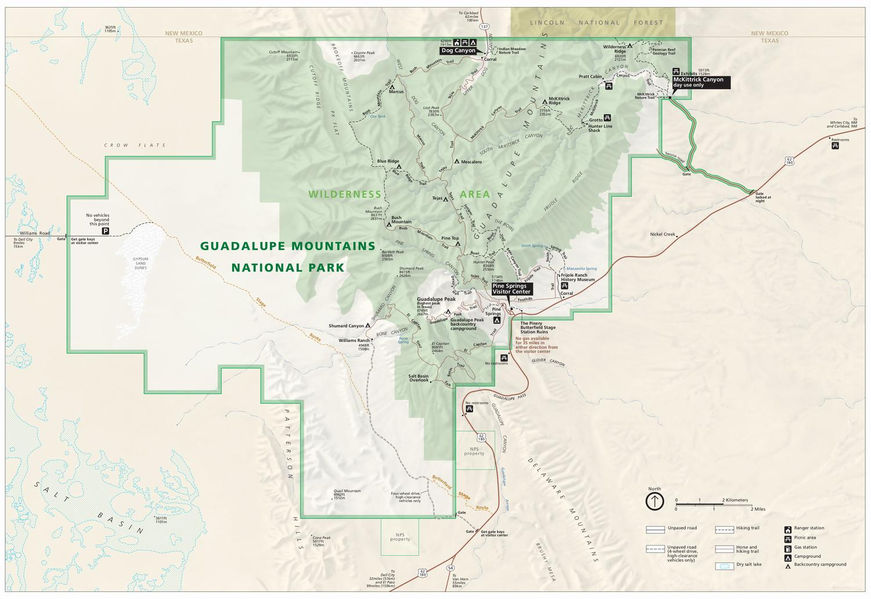 Карта нацпарка Горы Гваделупе (кликабельна!)