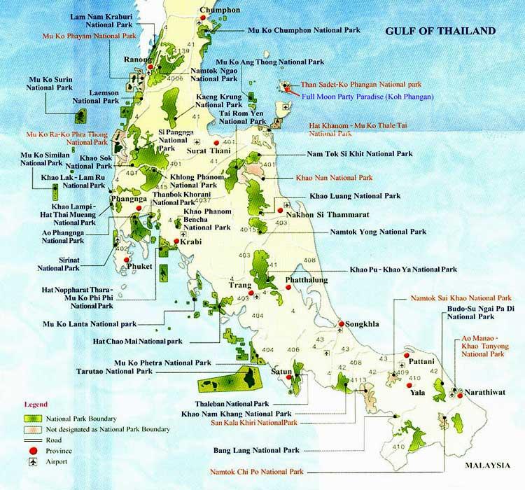 Карта национальных парков на юге Таиланда