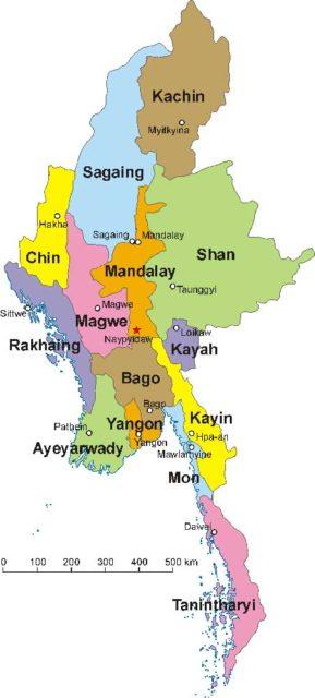 карта штатов мьянмы