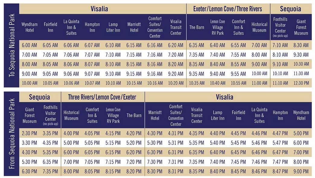 sequoia shuttle расписание