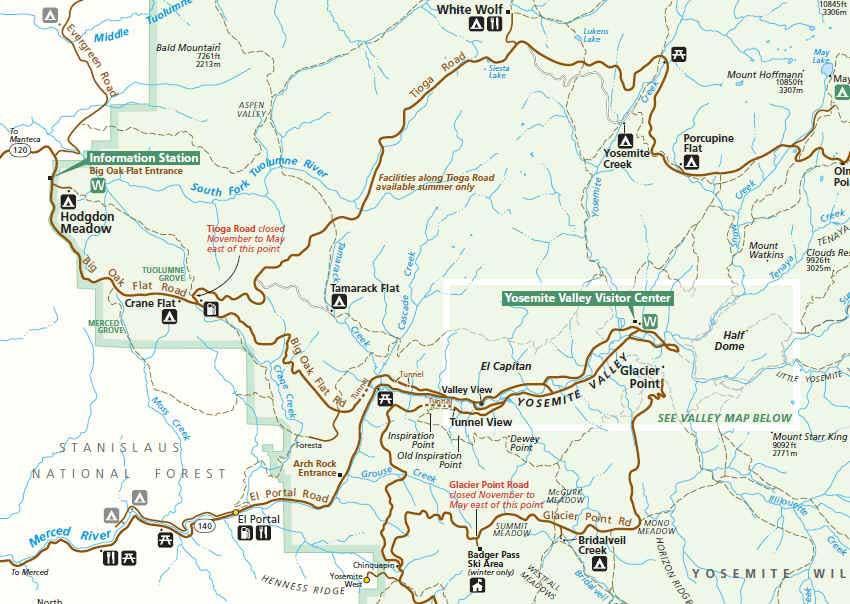 карта парка йосемити