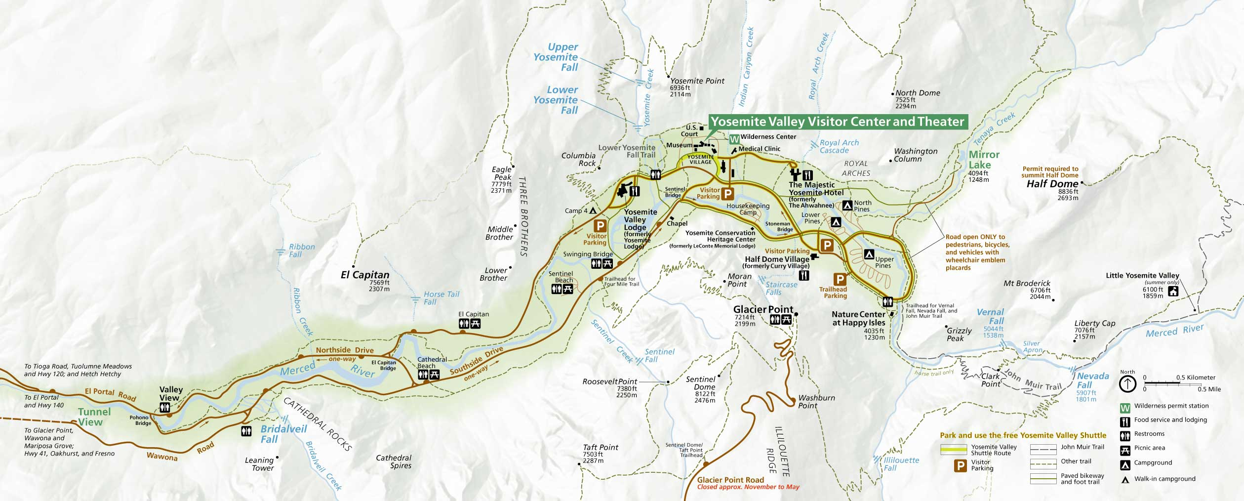 долина йосемите карта