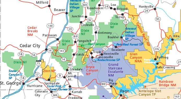 Брайс-Каньон на карте