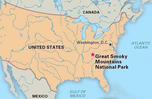 грейт смоки маунтинс на карте США