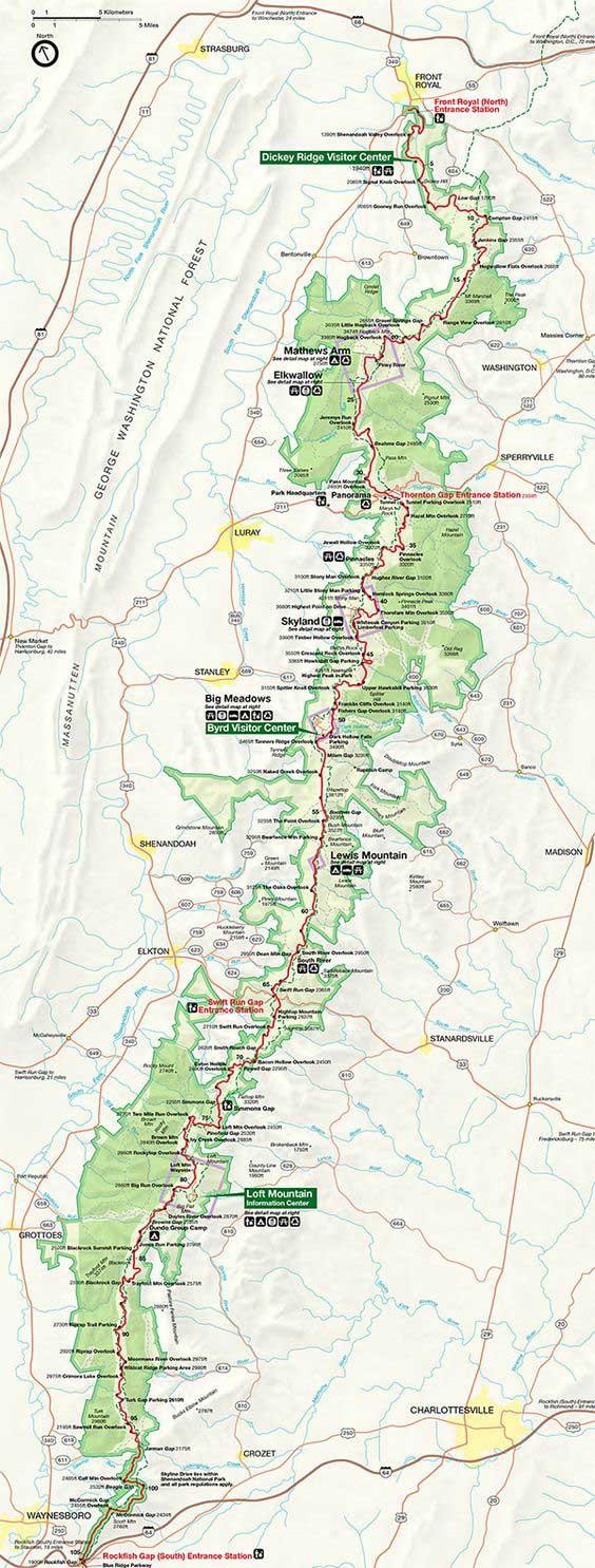 карта парка шенандоа