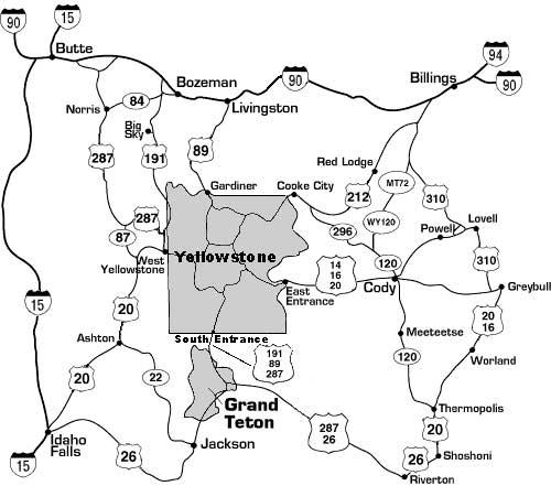 йеллоустоун карта дорог