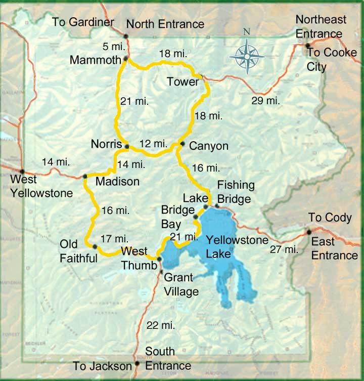 парк йеллоустоун карта